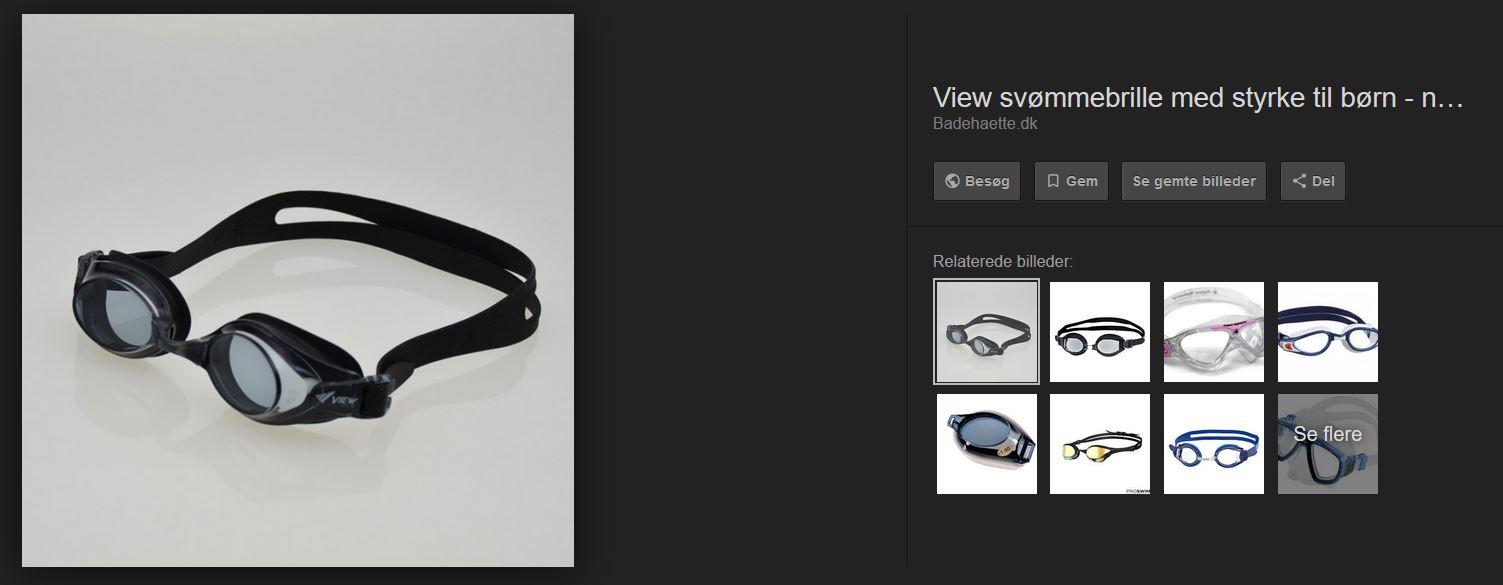 styrkeglas til svømmebriller